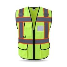 Светоотражающий жилет, высокая видимость, мульти карман, защитное снаряжение для строительной площадки, верхняя одежда, велосипедный жилет, Открытый протектор, майка