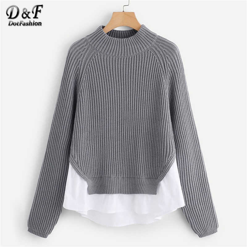 Dotfashion Casual Grey Raglan Sleeve Sweater Women 2019 Autumn Patchwork Asymmetrical Hem Sweaters Ladies Stand Collar Top
