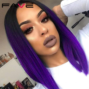 Image 2 - FAVE Ombre Black Purple/Blonde/Grey/Flax Brown/ Straight Synthetic Wig Shoulder Length Middle Part Cosplay For Womens Daily Wig