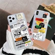 De Lujo claro sello Etiqueta de código de barras de la caja del teléfono para Samsung Nota 10 8 9 plus A5 A8 A9 A30 A50 A80 A90 S7 S8 S9 S10 plus cubierta suave
