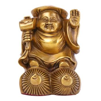 LAOJUNLU Pure Copper Ornaments Three Face Big Black Days Japanese Gods Buddha Statues