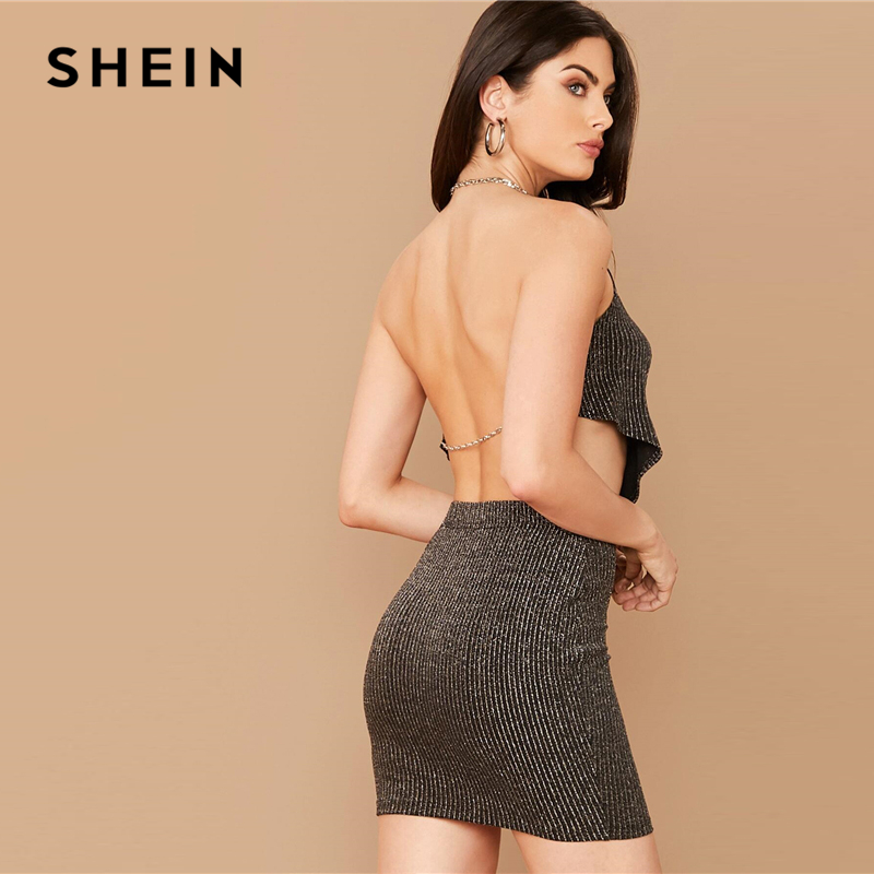 SHEIN Cowl Neck Backless Black Glitter Top And Bodycon Skirt Sexy Set Women Spring Glamorous Sleeveless Night Skinny Outfits 2