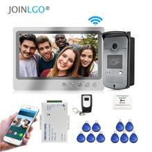 무료 배송 유선 와이파이 9 인치 화면 비디오 인터폰 도어 전화 기록 시스템 전화 모니터 원격 잠금 해제 RFID 초인종 카메라