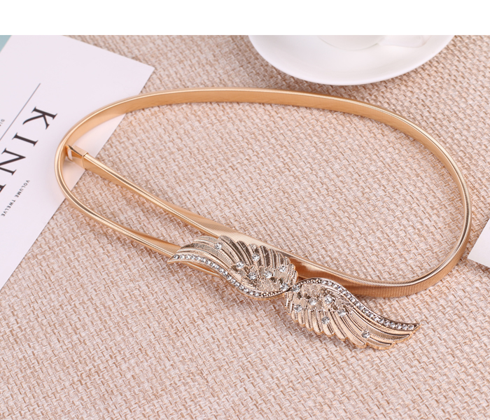 H81bcfb6bd4c0429fa0176061c34bed45W - Korean Elastic Metal Waist Silver Gold Chain Belts Female Maple leaf Bow Buckle for Women Dresses Strap Waistband Cummerbunds