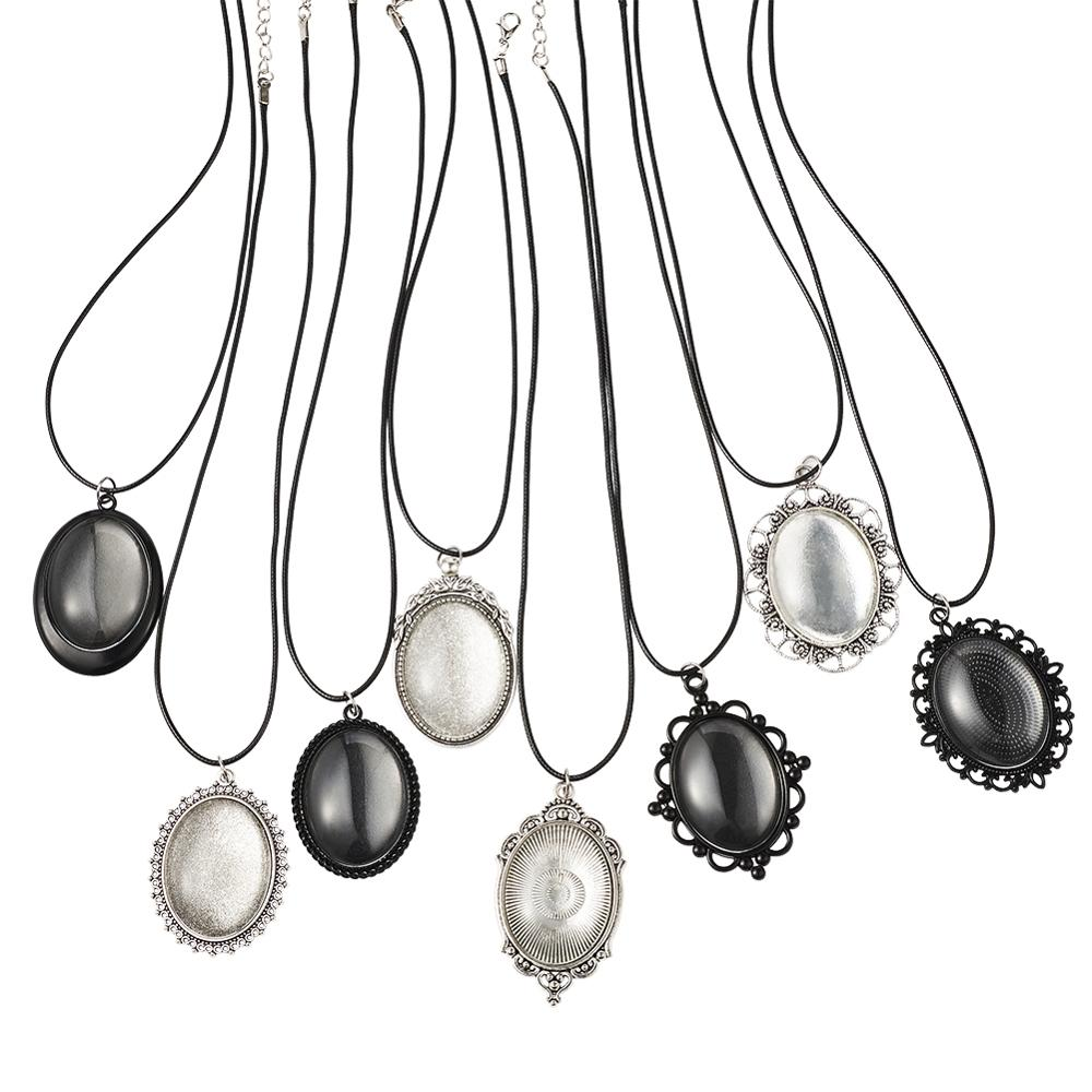 DIY Necklace Making with Pendant Cabochon Settings Oval Glass Cabochons and Waxed Polyester Cord Antique Silver 32pcs/set