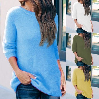 Solid Basic Women Think Sweater Autumn Sweater Tops Pullover Long Sleeve Warm Knit Pullover Female J