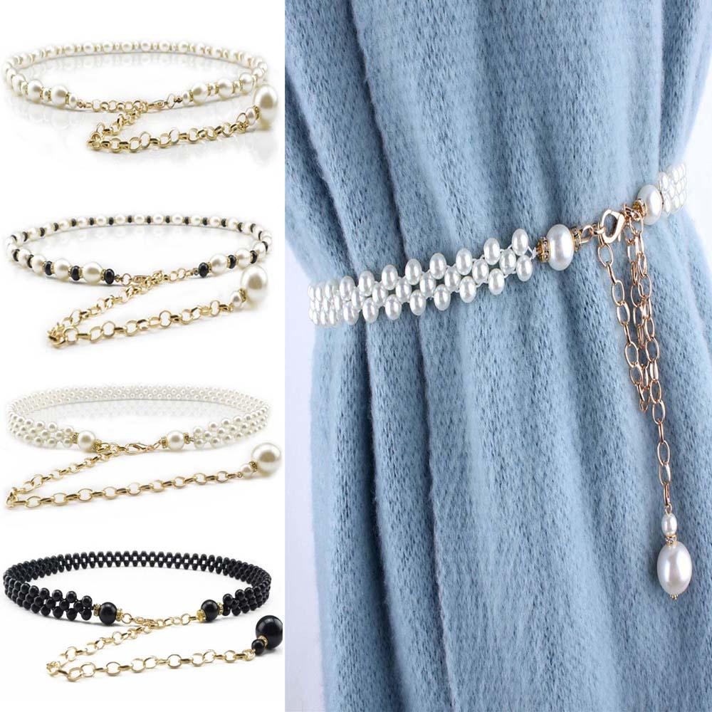 1 Pcs Women Imitation Pearl Belt Handmade Alloy Chain Waist Belt Female Girls Waistband Strap Dress Accessories
