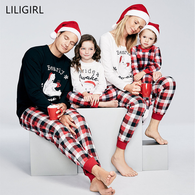 LILIGIRL Family Matching Outfits Christmas Clothes Pajamas Set Father Women Kids Baby Sleepwear Nightwear Xmas Pjs Sets Clothing