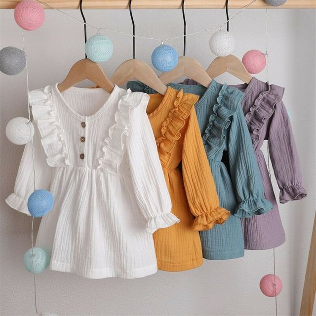 0-5Y Toddler Kids Baby Girl Autumn Dress Ruffles Long Sleeve Solid Cotton Linen Party Casual Dress Clothes 1