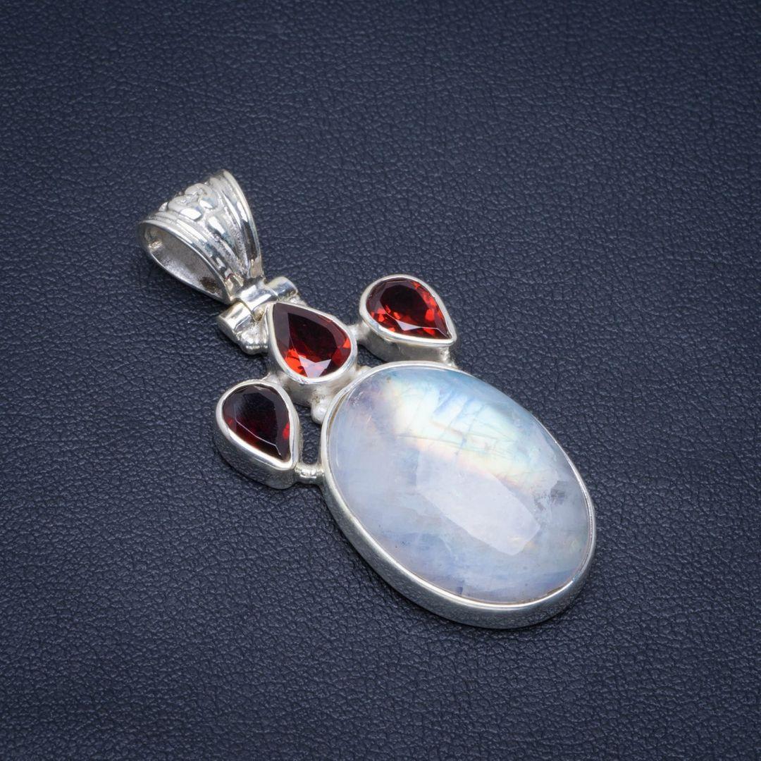 925 Sterling Silver NATURAL AMETHYST RAINBOW MOONSTONE Pendant 1.75