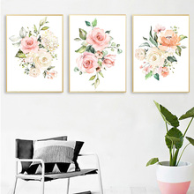 Canvas Painting wall art Blush Pink and Mint Floral Pictures Art Print Posters for Girls pictures living room
