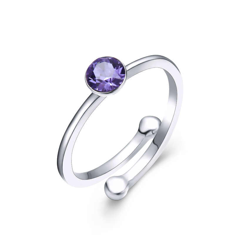 Bague Ringen 925 เงินแหวนเครื่องประดับสไตล์เรียบง่ายเปิดสร้างควอตซ์แหวน Brithday งานแต่งงานของขวัญ