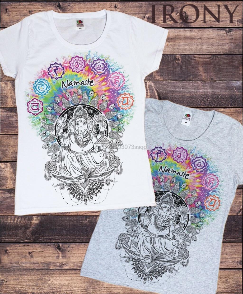 Женская белая футболка Ганеш Намасте ом АУМ Нефритовое пламя Будда медитация TS656|Футболки|   | АлиЭкспресс