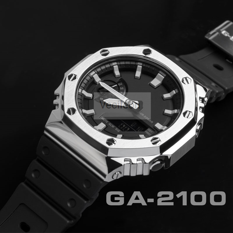 Watchband Bezel For GA-2100 316L Stainless Steel Metal Strap Cover Watch Band For GA-2100 Steel Belt With Tools 3 Colors