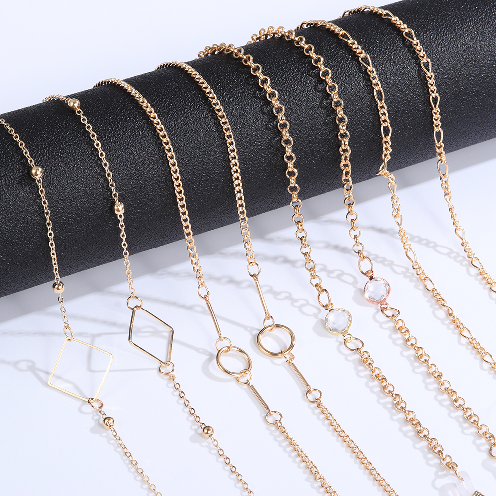 Hot Sale Beaded Eyeglasses Chain Ladies Sunglasses Chain Metal Eyewear Holder Lanyards Glasses Retainer Strap Accessories