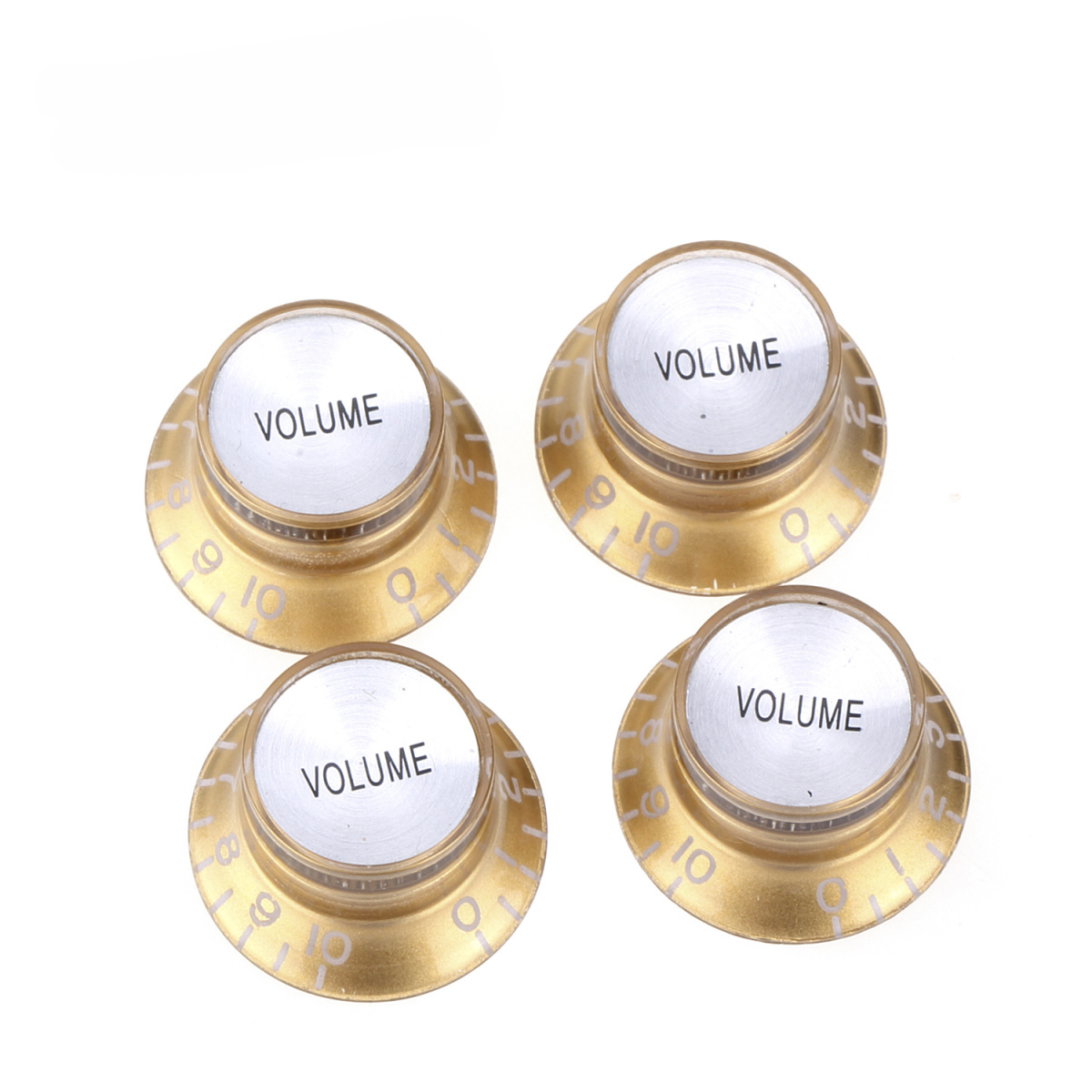 Set of 4 WHITE Witch Hat KNOBS w// SILVER Reflectors fits Gibson CTS Split Shaft
