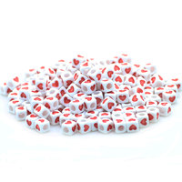 7mm ( hole size 4mm ) Acrylic Square Beads With Red Heart Pattern Cube Bead For DIY Making Women's Bracelet 500G (about 2000pcs)
