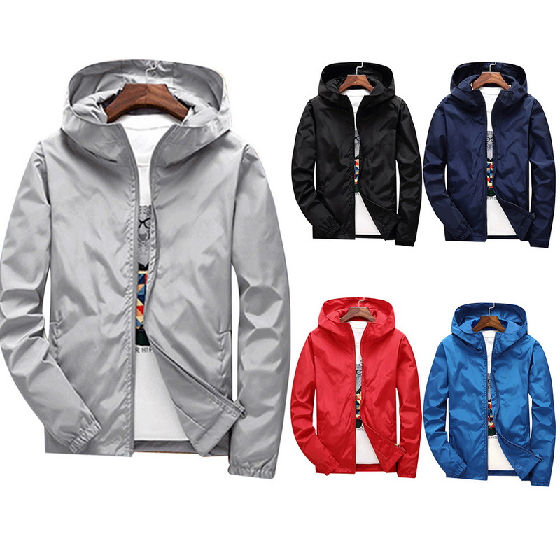 Spring Autumn Thin Windbreaker Jacket Men Plus Size M-4XL Jaqueta Masculina Slim Fit Young Men Hooded Bomber Jacket Men