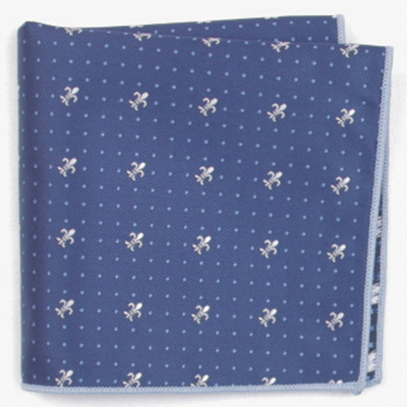 Dark Blue Small Patterned Pocket Square With Patterns Handkerchief