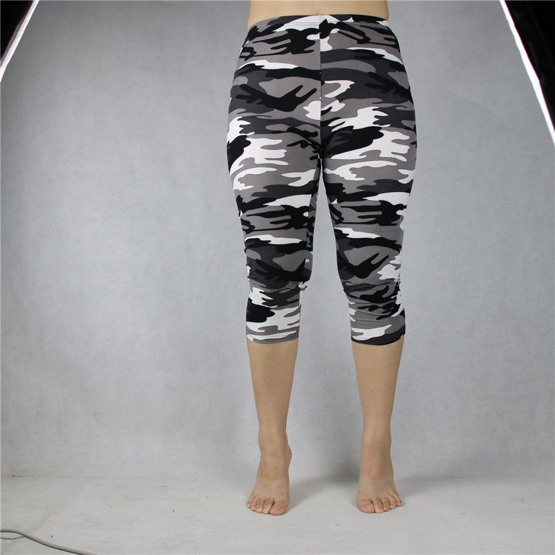 Shikoroleva Women's Leggings idcalf Summer Military Camo Print 3/4 Crop Short Legging Pant Plus Size 7xl 6xl 5xl Xs Grey Green