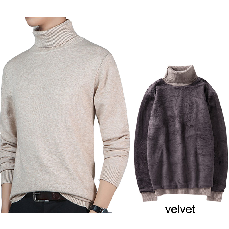 Winter High Double Neck Thick Warm Sweater With Velvet Lining Men Turtleneck Sweaters Slim Fit Pullover Men Knitwear 3XL