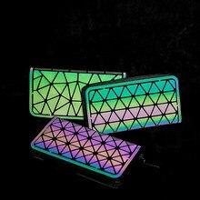 Crocrogo geométrico luminoso reflexivo longo carteiras moda japão estilo couro do plutônio telefone celular dinheiro bolsa titular do cartão de crédito