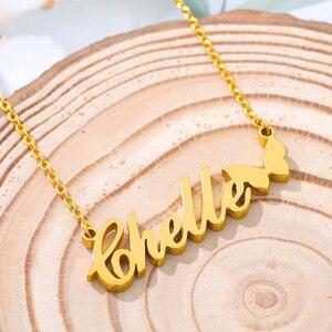 Harajuku персонализированные пользовательские имя Бабочка ожерелье для женщин мужчин розовое золото серебро Цвет Stainlesss стальные ожерелья Bijoux ...