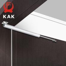 KAK Automatic Door Closer 60kg Aluminum Alloy Soft Closing Adjustable Gas Spring 110 Degree Positioning Stop Door Hardware