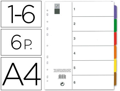 SEPARATOR MAXI AVERY DIN A4 PRINTABLE MULTITALADRO GAME DE 6 STRIPPERS SUPPORT CARTON|Binder Index Dividers| |  - title=