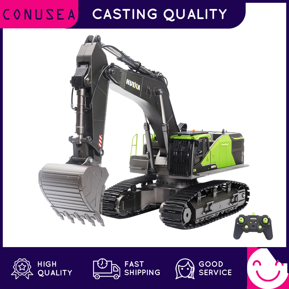 HUINA 1/14 RC Truck Caterpillar Alloy Tractor Engineering Car 2.4GHz Radio Controlled Car 22 Channel RC Excavator Toy for Boy