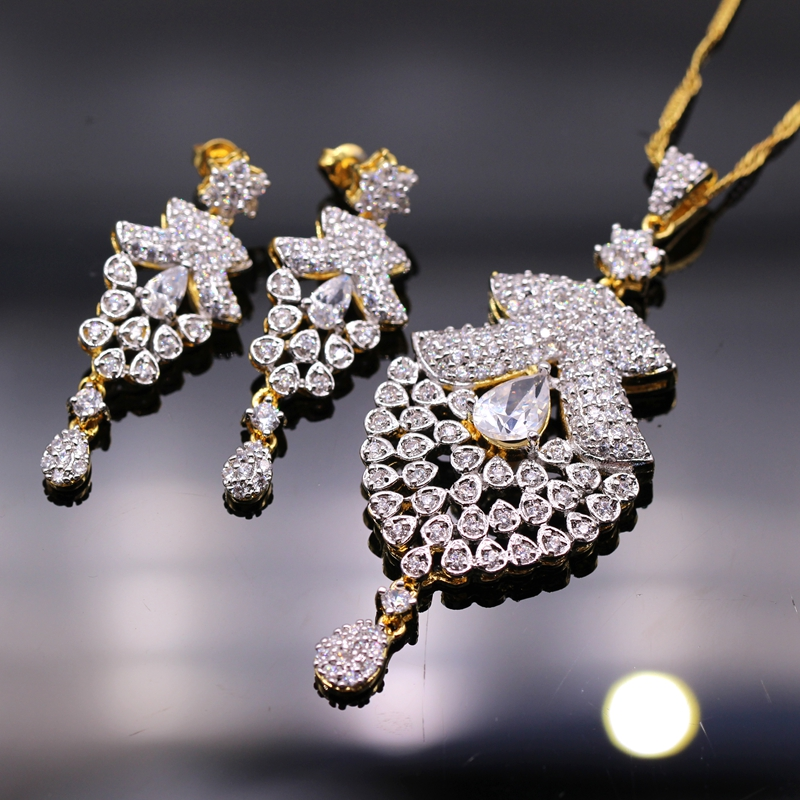 GZJY Fantastic Women's/Girl's Jewelry Sets Gold Color Crystal CZ Pendant Necklace Grapes Shape Earrings Set For Women(China)