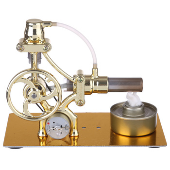 methanol generator fuel engine small micro internal combustion engine oil moving model educational toy mini engine L-Type Single-cylinder Stirling Engine Generator Model Science Experiment Educational Stem Toy with LED Diode - Golden