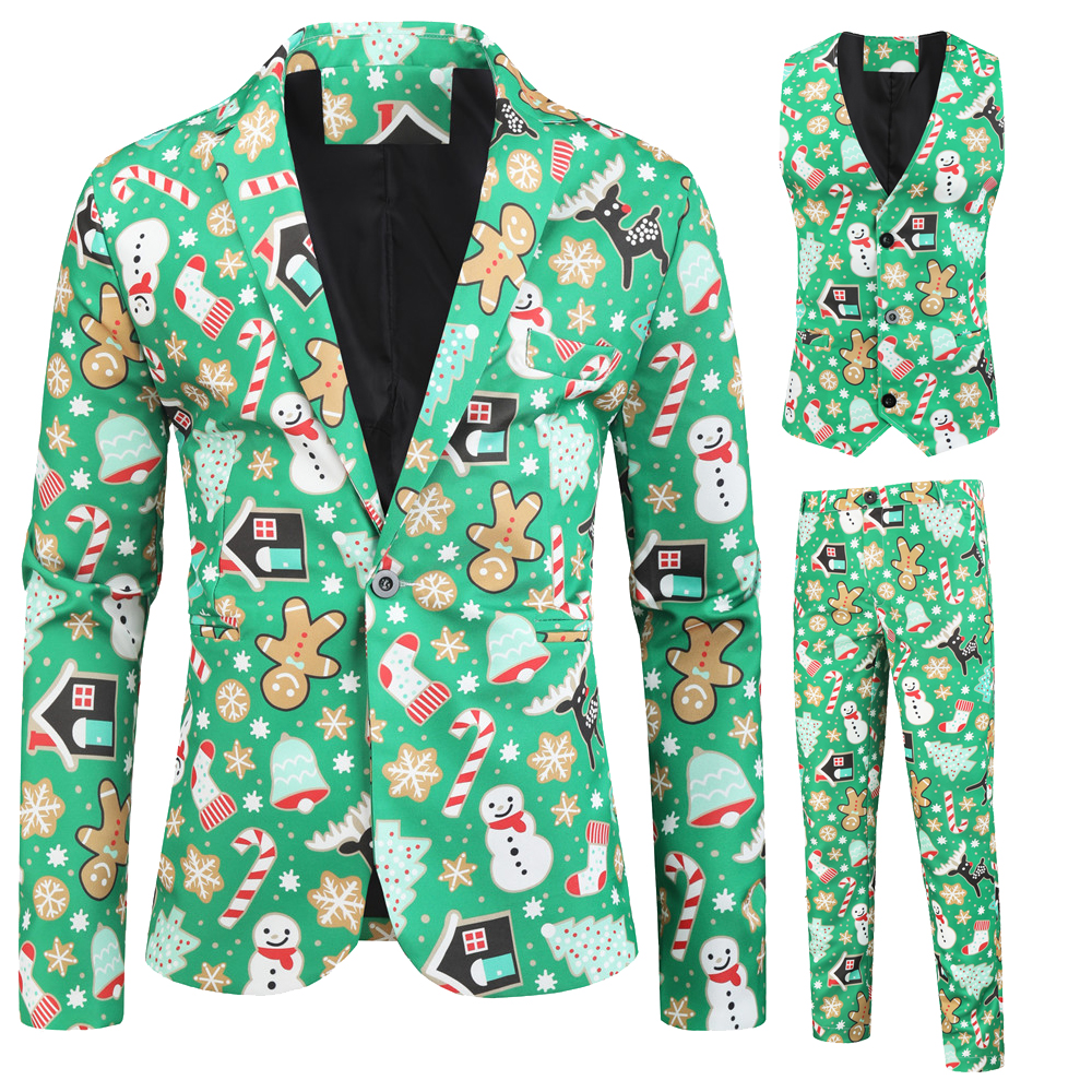 Mens Sets  Three-piece Christmas Suit With 3D Print Suits