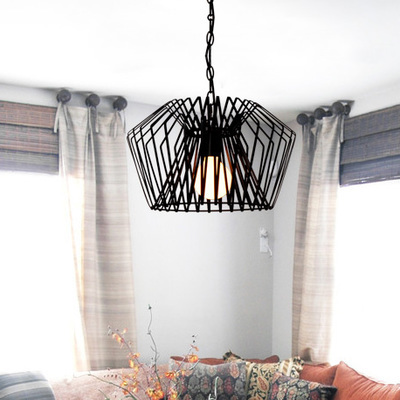 Nordic Black Color Wrought Iron Birdcage Pendant Light For Dining Room Bar Lamp Hanging Lamp
