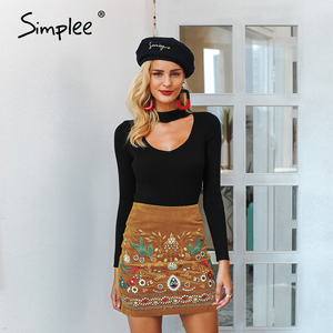 Image 5 - Simplee Vintage גבוהה מותן חצאיות נשים תחתון Boho עיפרון קורדרוי חורף חצאית נשי רקמת סתיו סקסי ירוק מיני חצאית