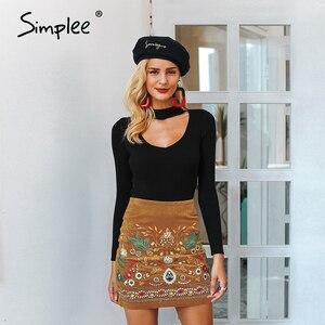 Image 5 - Simplee Vintage yüksek bel etekler bayan alt Boho kalem kadife kış etek kadın nakış sonbahar seksi yeşil mini etek