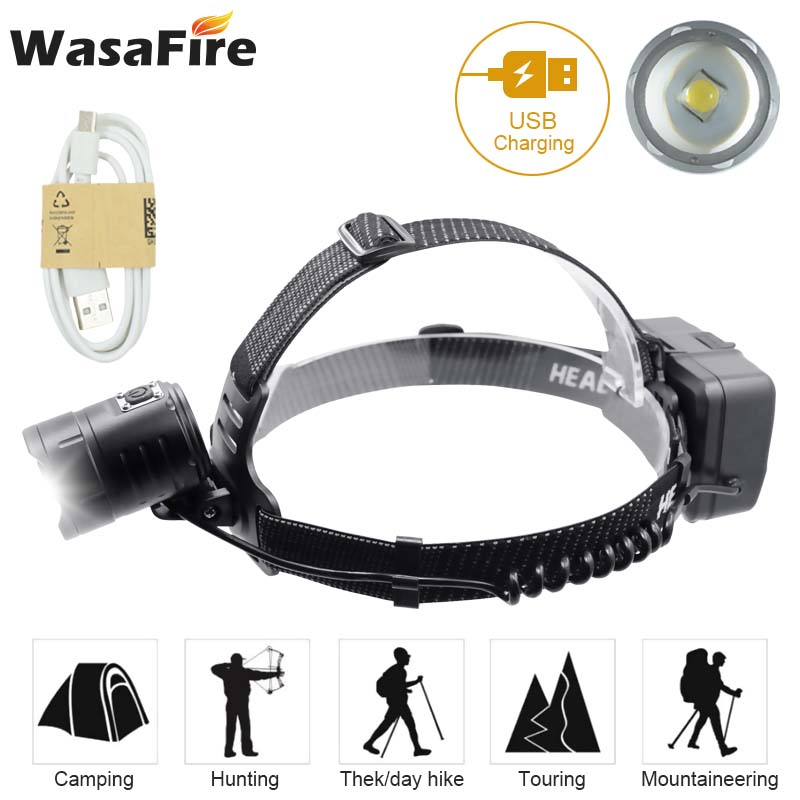 Super Bright 3 Modes Frontal LED Headlamp 8000 Lumens Rechargeable Forehead Headlight Portable Running Camping Flashlight Torch