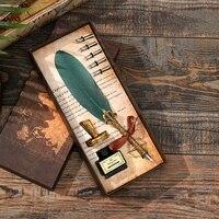 럭셔리 만년필 선물 상자 세트 빈티지 다채로운 깃털 펜 딥 잉크 서예 펜 학생 쓰기 퀼 펜 사무 용품