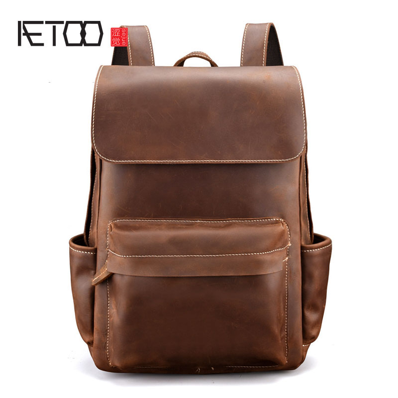 AETOO Men Vintage Crazy Horse Leather Backpack Unisex Cow Leather 15