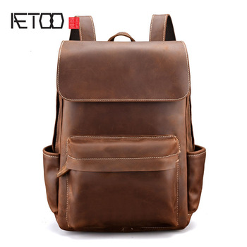AETOO Men vintage crazy horse leather backpack Unisex cow leather 15 Laptop rucksack Women Thick real leather school bag casual