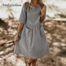 Summer Woman Elegant Dress 2019 O Neck Half Sleeve Pockets Loose Party Vestido Casual Baggy Work Striped Sundress Oversized YXBD