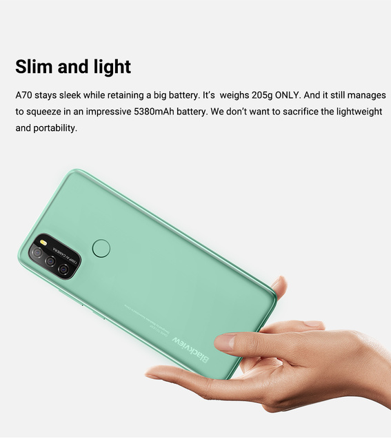 """Blackview A70 Android 11 Smartphone 6.517"""" Display SC9863 Octa Core 3GB ROM+32GB ROM 5380mAh 13MP Rear Camera 4G Mobile Phone 6"""