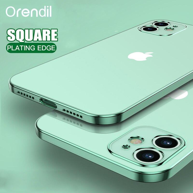 Классический чехол Orendil с квадратной рамкой для IPhone 12 SE 11 Pro Max, прозрачная задняя крышка для IPhone X XR XS MAX 6 7 8 Plus