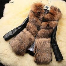 Меховая куртка, жилетка, зимняя, толстая, теплая, кожа, норка, искусственный мех, пальто, воротник, для женщин, Pelliccia, Ecologica, Manteaux Fausse, Fourrure, XXXL