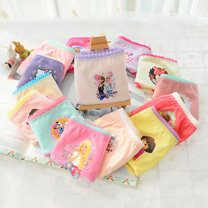 6 Pcs/pack Random Delivery Girls Briefs Panties Underwear  Character Girls Underwear Cotton Pinkycolor Panties