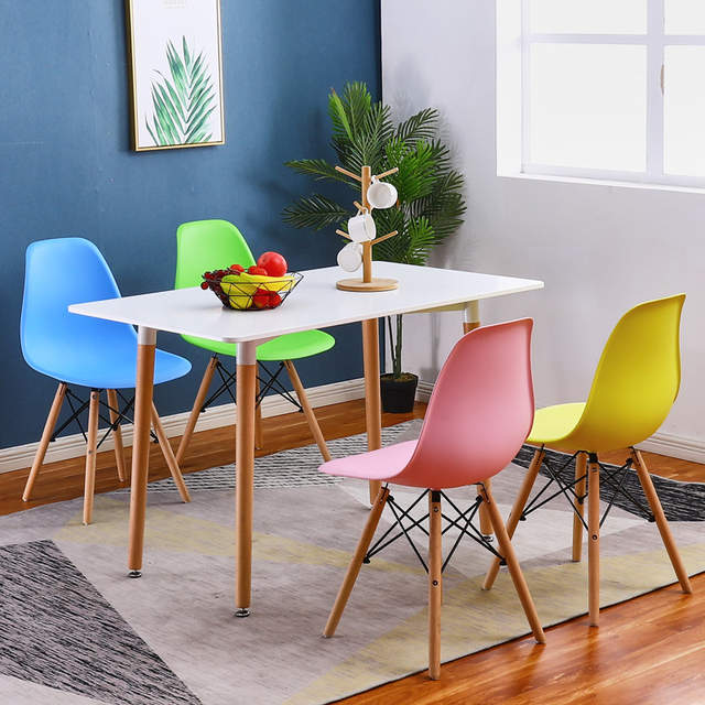 4pcs Lot Pp Wooden Dining Chair Backrest Chair Simple Modern