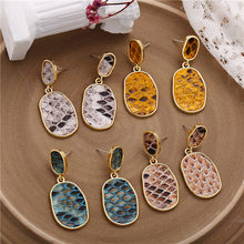17KM New Women's Earrings Vintage Drop Earrings For Women Bohemian Snake Skin Earring 2019 Bijoux Female Statement Jewelry Gift(China)