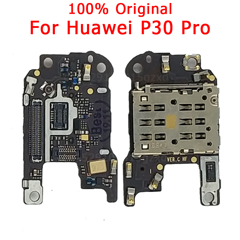 100% Original SIM/SD Card Reader With Microphone Flex Cable For Huawei P30 Pro SIM Holder Conecction Board Replacement Parts