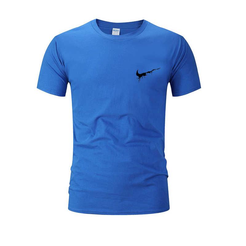 男性の Tシャツの実行綿ジムフィットネスジョガー tシャツ男性 Rashgard 半袖トレーニング o-ネック tシャツブランド服 tシャツ