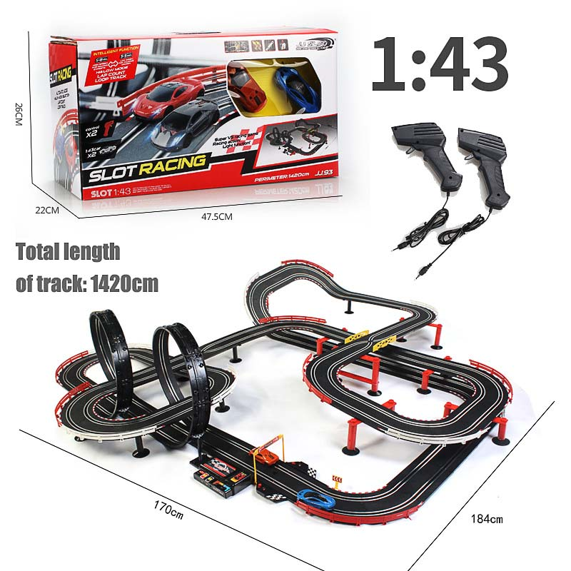Electric Track Train Set Double Autorama Remote Control Circuit Voiture Slot Car Racing Track For Boy Railway Toys For Children
